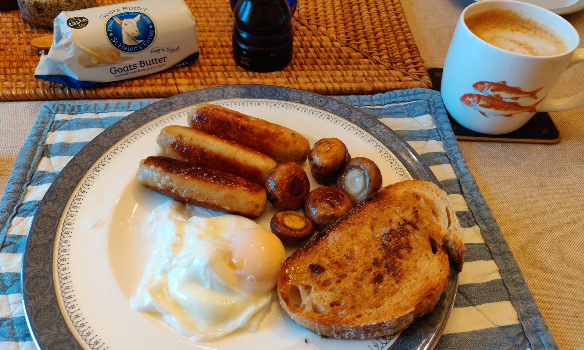 Full English Cooked Breakfast without pork, dairy (cow milk) and tomatoes